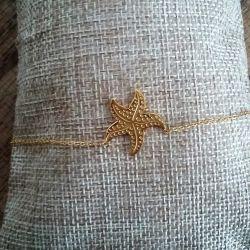 Bracelet étoile de mer plaqué or