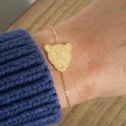 Bracelet fin doré léopard chic femme Flor Amazona