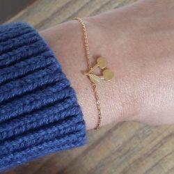 Bracelet fin plaqué or cerise femme Flor Amazona