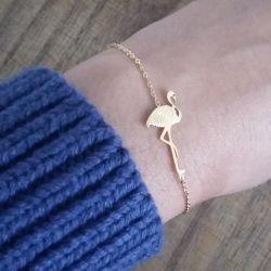 Bracelet fin doré chic Flamant Flor Amazona