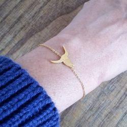 Bracelet fin doré colibri Flor Amazona