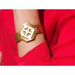 Bracelet ethnique plaqué or Fleur de cocorilla avec vêtement rouge