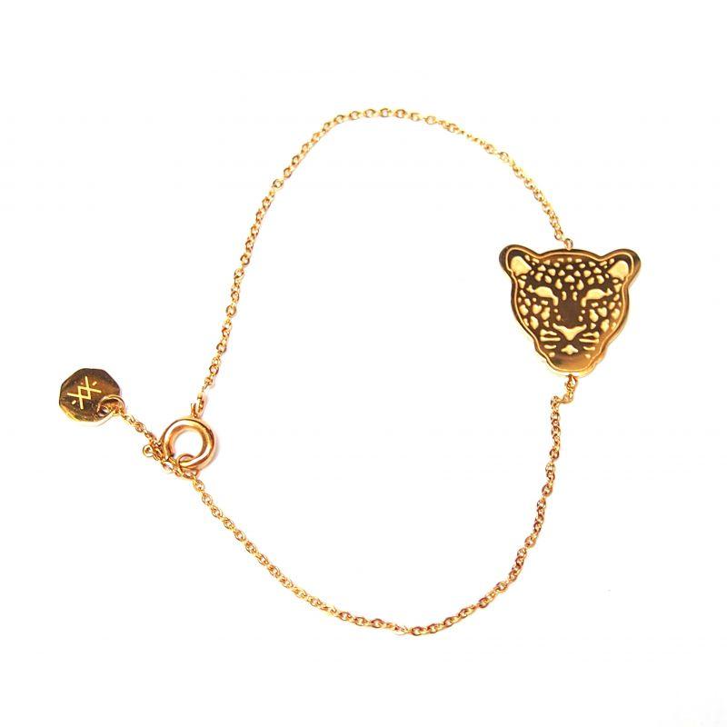Bracelet fin doré léopard femme