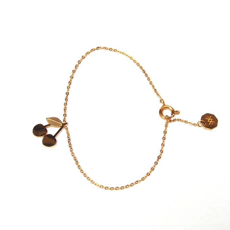 Bracelet fin plaqué or cerise femme