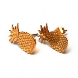 Boucles d'oreilles puce plaqué or Ananas