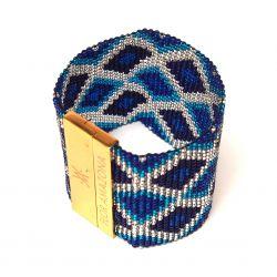 Bracelet manchette perles tissé