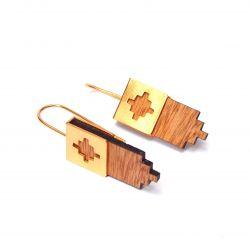 Boucles d'oreilles ethniques plaqué or et bois