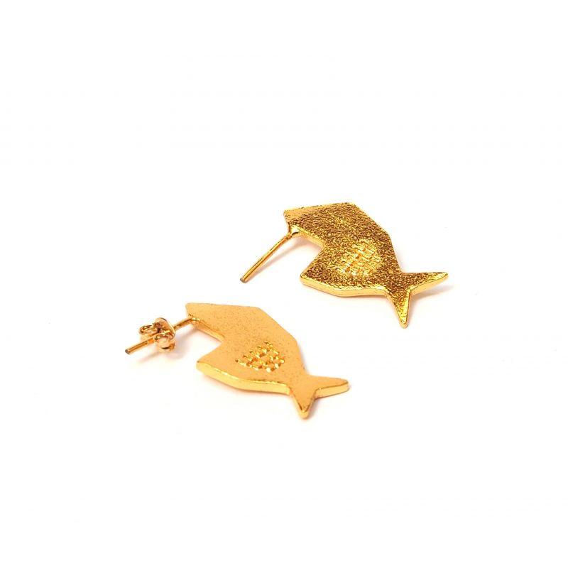 Boucles d'oreilles ethniques plaqué or poisson