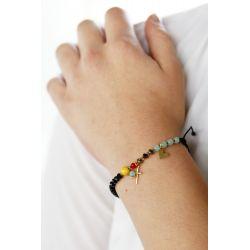 Bracelet perles multicolore femme - porté