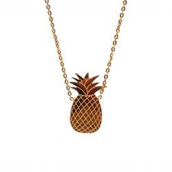 Collier ras de cou plaqué or ananas