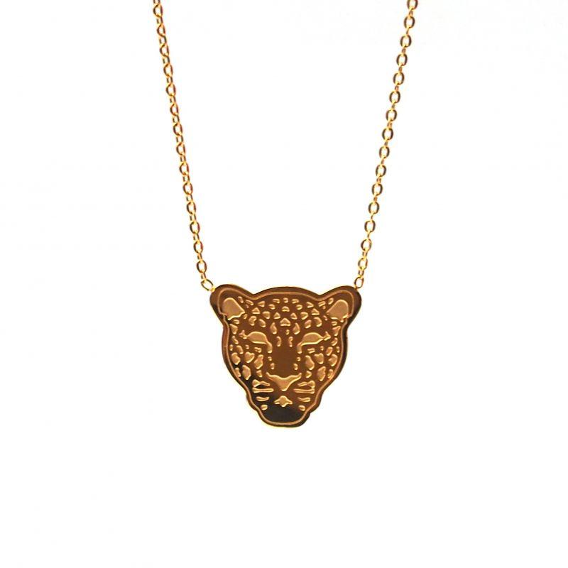 Collier ras de cou plaqué or léopard