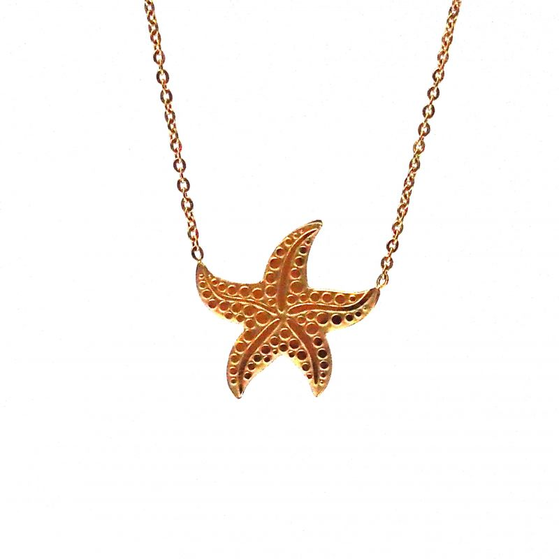 Collier ras de cou plaqué or étoile de mer