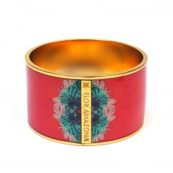 Bracelet émaillé rose rouge autre face