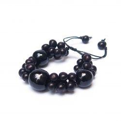 Bracelet noir graines