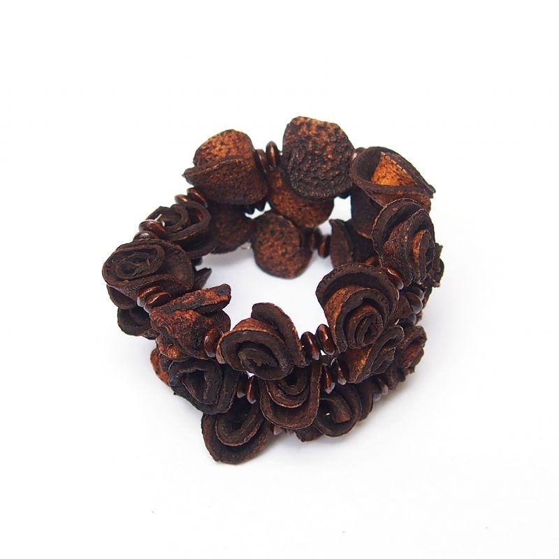 Bracelet multirang fleurs peau d'orange