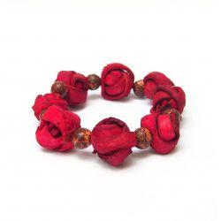 Bracelet peau d'orange rouge femme