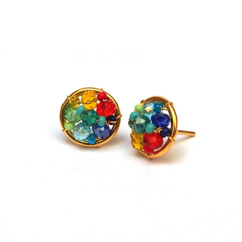 Boucles d'oreilles plaqué or verre de Murano multicolore
