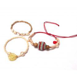 Bracelet original triple-rang perles femme - détail