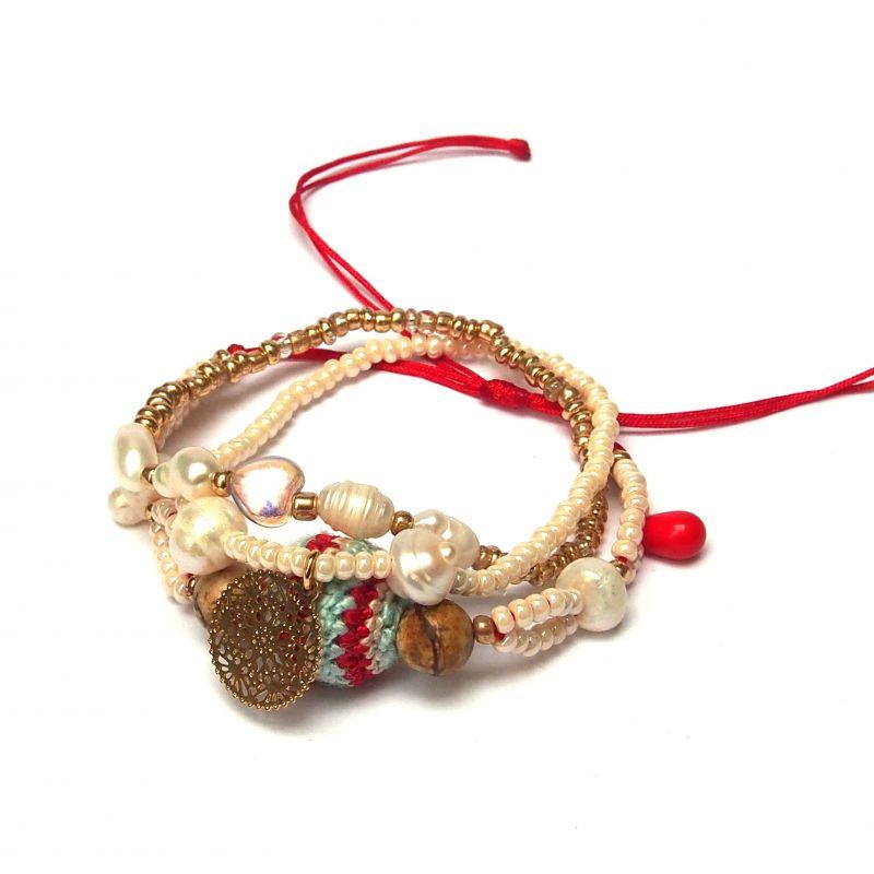 Bracelet original triple-rang perles femme