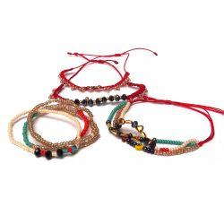 Bracelet multirang perles et Murano - détail des rangs