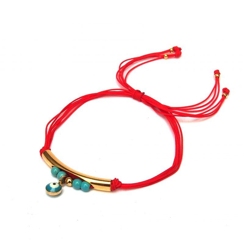 Bracelet doré cordon rouge œil turc femme