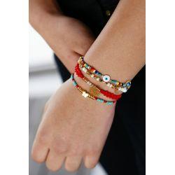 Bracelet multirangs mandala femme - porté