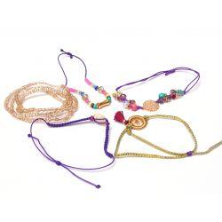Bracelet multirang violet-doré femme - détail des rangs
