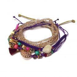 Bracelet multirangs violet-doré femme