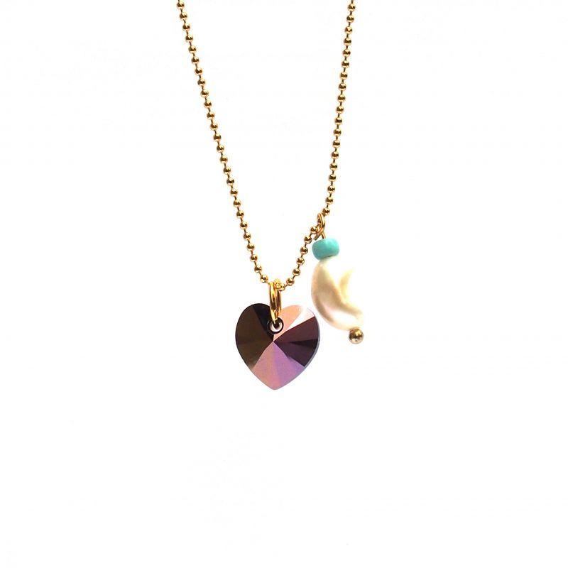 Collier plaqué or Swarovski bleu et perle
