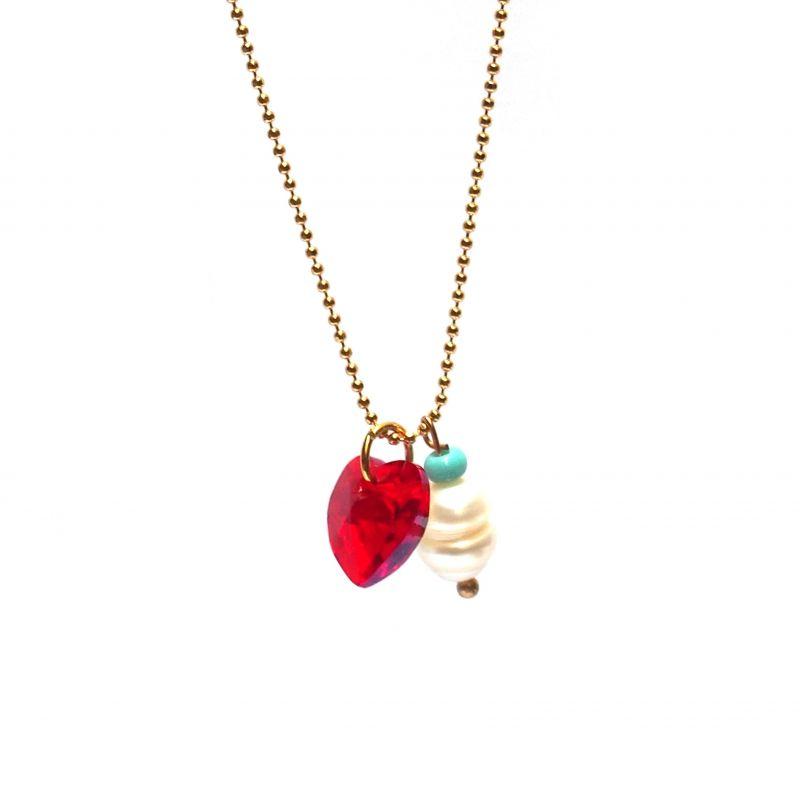 Collier plaqué or Swarovski rouge et perle
