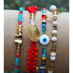 Bracelet multirangs mandala femme - détail