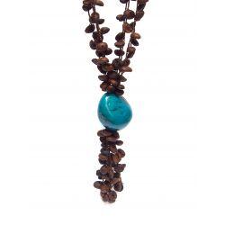 Collier et boucles d'oreilles ivoire végétal turquoise grains de café