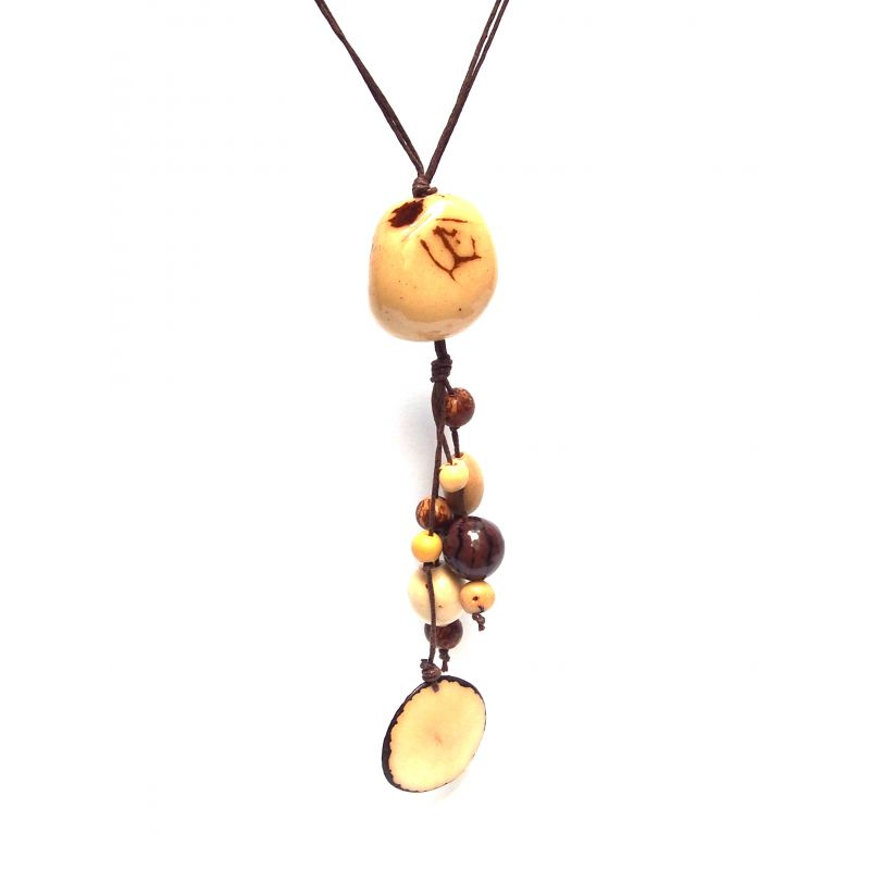 Sautoir et boucles d'oreilles ivoire végétal marron beige