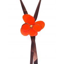 Sautoir ivoire végétal fleur orange