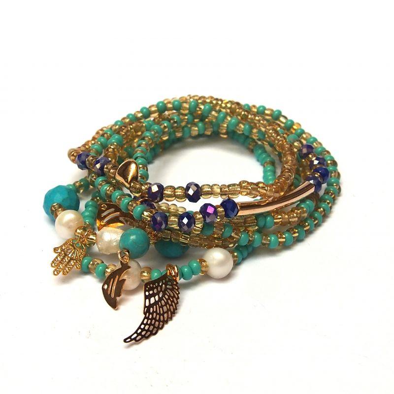 Bracelet multirang vert bleu femme