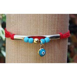 Bracelet doré rouge œil turc femme