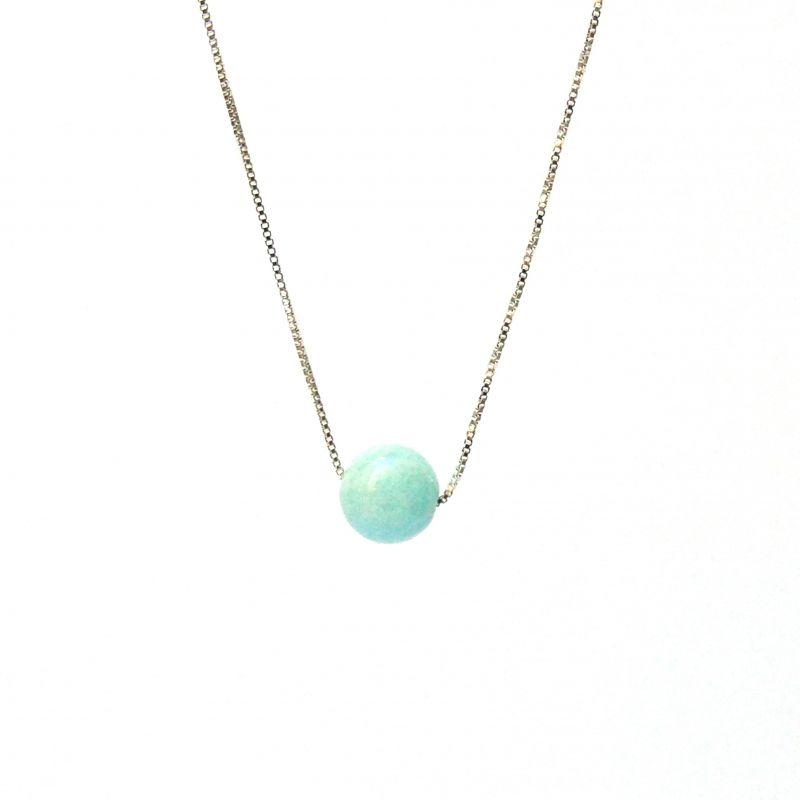 Collier en argent pierre hématite turquoise