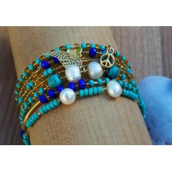 Bracelet multirangs vert bleu femme