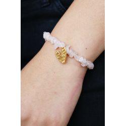 Bracelet quartz rose femme  - porté