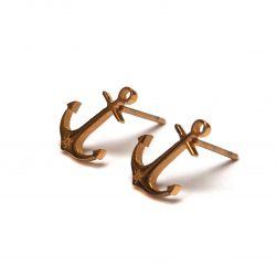 Boucles d'oreilles plaqué or ancre de bateau