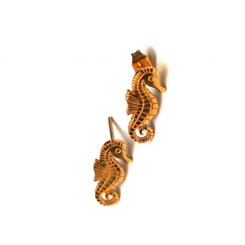 Boucles d'oreilles plaqué or hippocampe