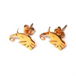 Boucles d'oreilles plaqué or tête d'éléphant