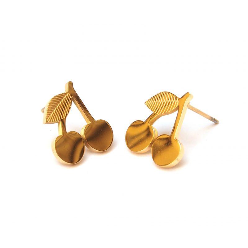 Boucles d'oreilles plaqué or cerise