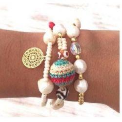 Bracelet triple rang perles femme