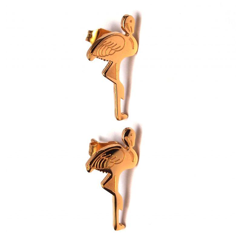 Boucles d'oreilles plaqué or flamant