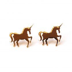 Boucles d'oreilles plaqué or licorne