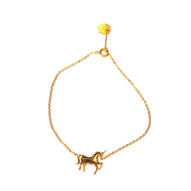 Bracelet fin plaqué or licorne