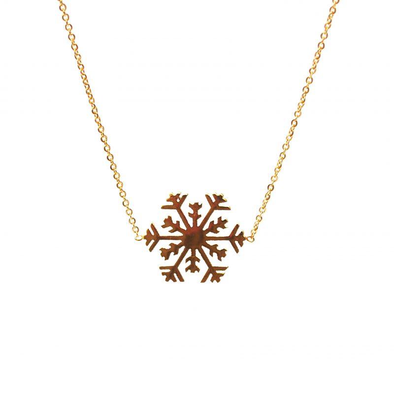 Collier fin plaqué or étoile des neiges