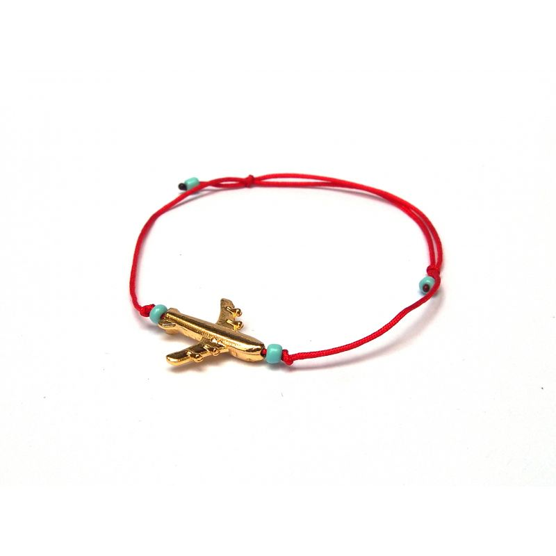 Top Bracelet fantaisie cordon rouge avion femme - Bachué Bijoux HV13
