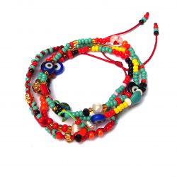 Bracelet multirang perles multicolore femme